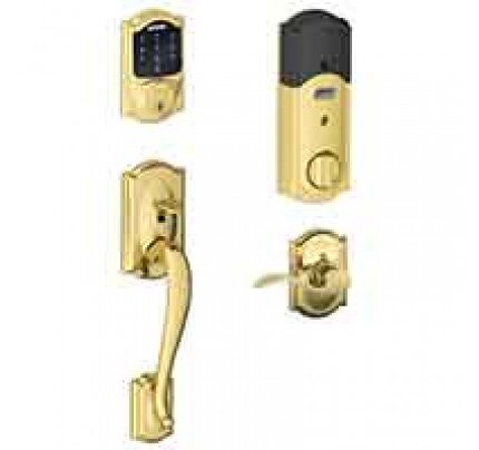 Schlage Connect Touchscreen Deadbolt with Camelot Trim Paired with Camelot Handleset and Accent Lever with Camelot Trim