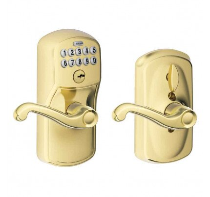 Schlage Keypad Lever with Plymouth Trim and Flair Lever with Flex Lock