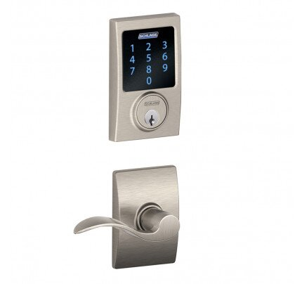 Schlage Connect Touchscreen Deadbolt with Alarm with Century Trim Paired with Accent Lever with Century Trim